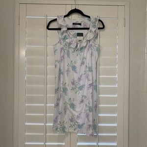 RALPH LAUREN White Floral Night Gown Ruffle Neck